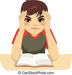 niño, adolescente, duro, estudiar