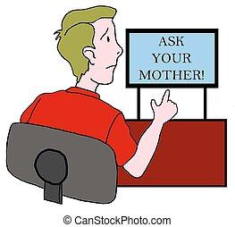 niño, adolescente, el suyo, registro, madre, pregunte, ...