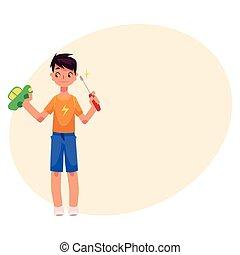 niño, adolescente, juguete, reparación, coche, destornillador, aprieto, tenencia, Tratar