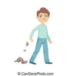 niño, adolescente, peleón, ilustración, tirar basura,...