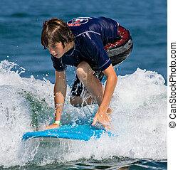 niño, adolescente, surf