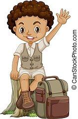 niño, africano, campamento, traje