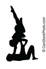 niño, aire, gimnasia, el balancear, niña, acrobático