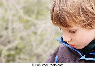 niño, al aire libre, viejo, años, 6, retrato