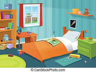 niño, algunos, dormitorio