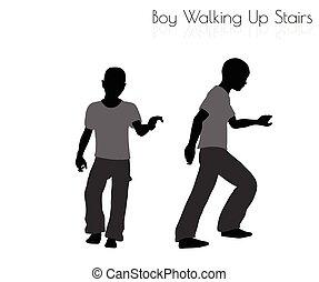 niño, ambulante, postura, arriba, plano de fondo, blanco,...