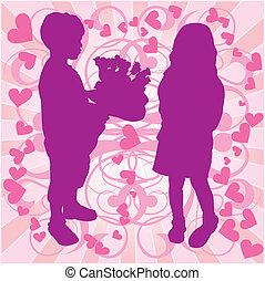 niño, amor, y, ilustración, niña, silueta