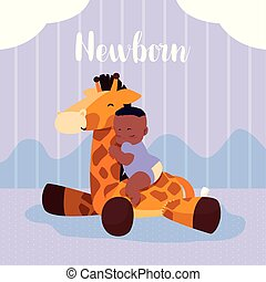 niño, animal, recién nacido, jirafa, disecado, bebé, afro,...