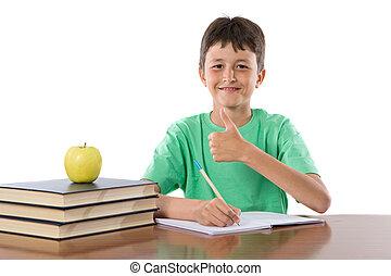 niño, aprobar, estudiante, refrán