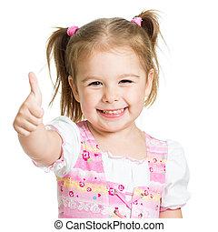 niño, arriba, pulgares, manos, niña, feliz