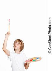 niño artista, espacio, blanco, blanco, pintura