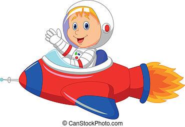 niño, astronauta, caricatura, espacios