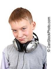 niño, auriculares
