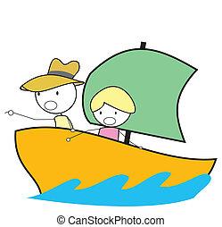 niño, aventura, barco