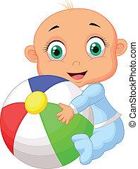 niño,  B, colorido, tenencia, bebé, caricatura