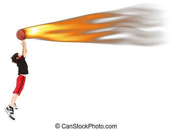 niño, baloncesto, energético, fuego, saltar, niño, coger