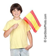 niño, bandera, pecoso, español