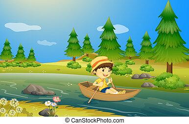 niño, barco, equitación