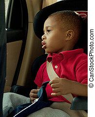 niño, bebé, carseat, sentado