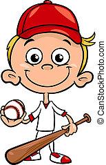 niño, beisball, caricatura, ilustración, jugador