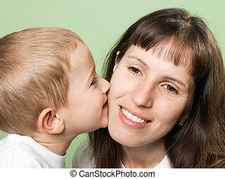 niño, besar, madre