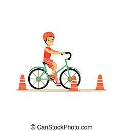 niño, bicicleta que cabalga, niño, practicar, diferente, deportes, y, físico, actividades, en, educación física, clase