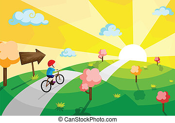 niño, bicicleta que cabalga