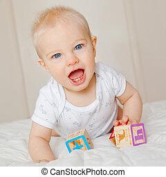 niño, bloques, arriba, mes, mirar, 7, bebé, viejo, juego