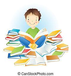 niño, books.