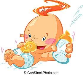 niño, botella, vacío, caricatura, tenencia, bebé, sonriente, leche, feliz