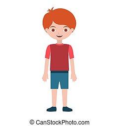 niño, calzoncillos, camiseta