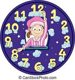 niño, cama, niña, tiempo