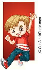 niño, camisa, rojo, feliz