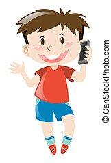 niño, camisa, teléfono móvil, utilizar, rojo