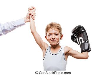 niño, campeón, boxeo, victoria, niño, sonriente, el...