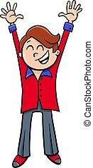 niño, carácter, ilustración, fiesta, caricatura, feliz