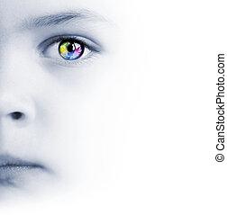 niño, cara, colorido, ojo, y, mapa