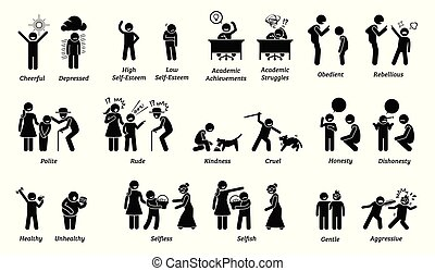 niño, características, actitudes, sentimientos, y, emotions.