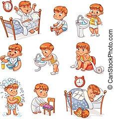 niño, caricatura, diario, conjunto, actividades, rutina