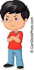 niño, caricatura, enojado