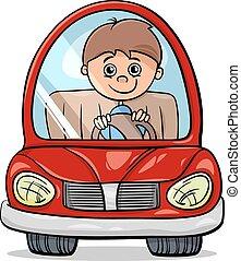 niño, caricatura, ilustración, coche