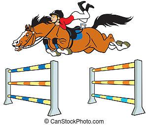 niño, caricatura, jinete, caballo