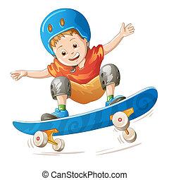 niño, caricatura, patinador