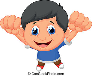niño, caricatura, posar