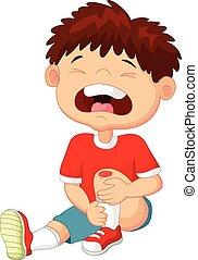 niño, caricatura, rasguño, cryingwith