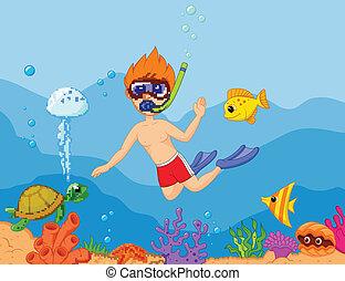 niño, caricatura, snorkeling