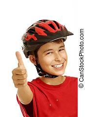 niño, casco de la bici