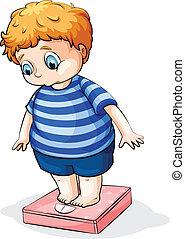niño, caucásico, grasa