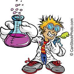 niño, científico, niño, inventor