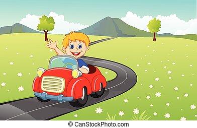 niño, coche, caricatura, conducción